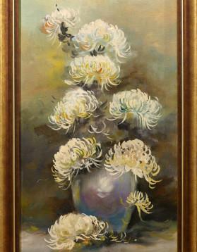 Anonim - Flori albe in vaza - 30x60cm (r36x66cm) - 180 lei