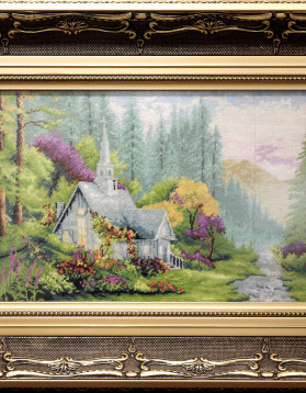Goblen - 18x26 cm - Biserica dintre munti - 550lei