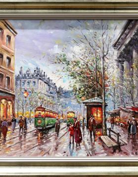 Iancu Francisc - O strada aglomerata in Paris - 45x38 cm (r53x46 cm) - 550 lei