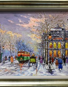 Iancu Francisc - Peisaj de iarna in Paris - 43x32,5 cm (r51x40 cm) - 499 lei
