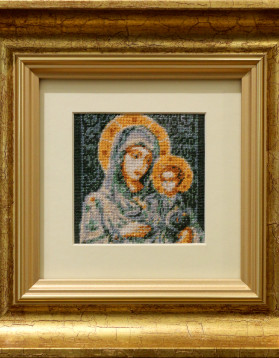 Maica Domnului cu Pruncul - 9x9 cm 10 culori - 150 lei (rama 23x23 cm)