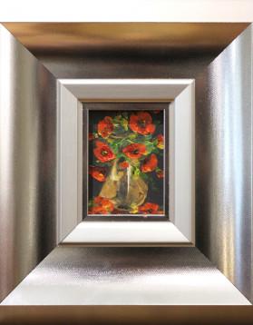 Pictura in cutit - Maci rosii - Stefan Murzic - 10 x 7 cm (rama 29 x 26 cm) 90 lei