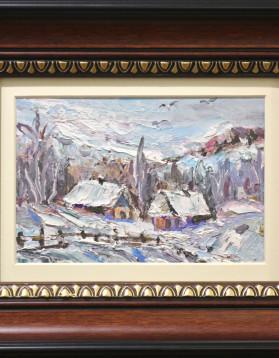 Romeo Coroi - Pictura cutit in ulei - Iarna pe ulita - 18 x 12,5 cm (rama 26 x 32 cm) - 129 lei