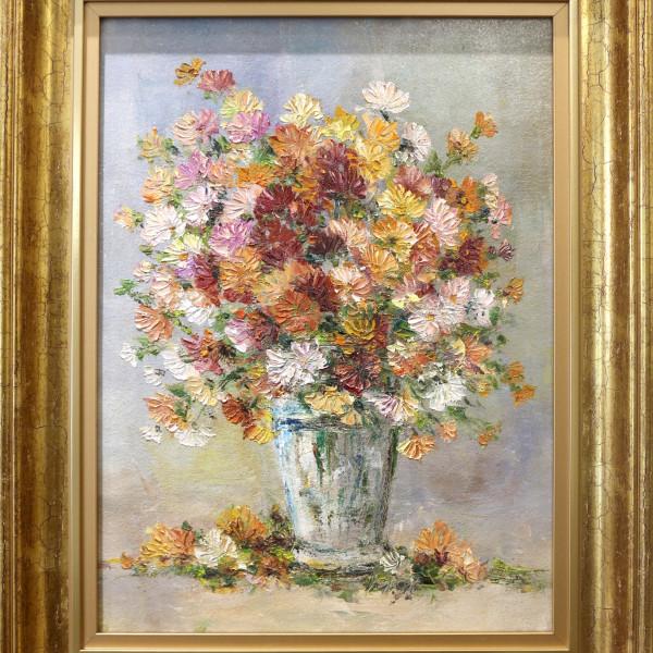 Stefan Murzic - Crizanteme - 36x27cm (R48x38,5cm) - 350 lei