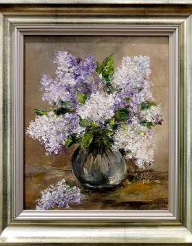 Stefan Murzic - Liliac in vaza de sticla - 27x22 cm (R 36x31.5 cm) - 299 lei