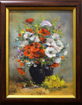 Stefan Murzic - Maci si flori de camp - 30x40 cm (rama 38x48 cm) - 449 lei