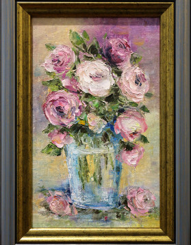 Stefan Murzic - Trandafiri roz in vas - 29x17 cm (r 36x25,5cm) - 229 lei