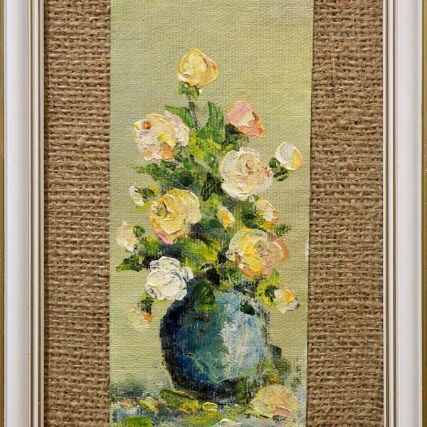 Stefan Murzic - Trandafiri roz in vaza albastra - 17x7cm (r 25x15,5) - 60 lei