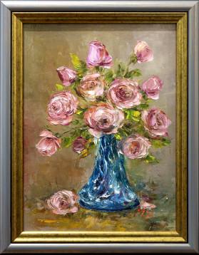 Stefan Murzic - Trandafiri roz in vaza de sticla - 38x28 cm (r 45x35cm) - 420 lei