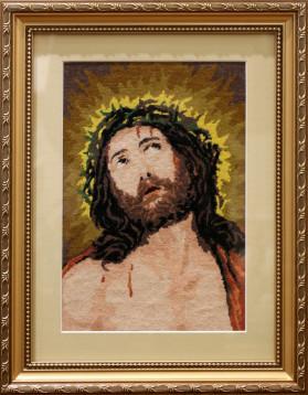 Tablou Goblen - Iisus Hristos - 18x26,5 cm - 13 culori (rama 30,5 x 39 cm) - 350 lei