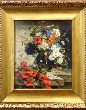 Tablou goblen - Eugene Henri Cauchois - Natura statica cu maci - 20 x 24,5 cm 31 culori (rama 31 x 35 cm) pret 450 lei