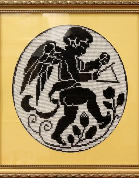 Tablou goblen - Ingeras - 2 culori - 29x32cm (r 41x45cm) - 140 lei