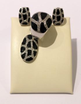 Set din argint cu Email negru si Zirconii - cercei, pandantiv, inel - 25,3 g - 525 lei