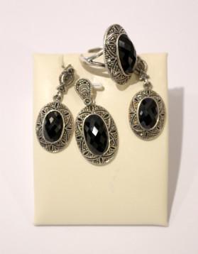 Set din argint cu Onix si marcasite - cercei, inel si pandantiv - 28,63 g - 450 lei (5)